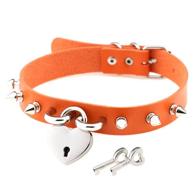 Spiked Heart Lock Collar (11 Colors Available)