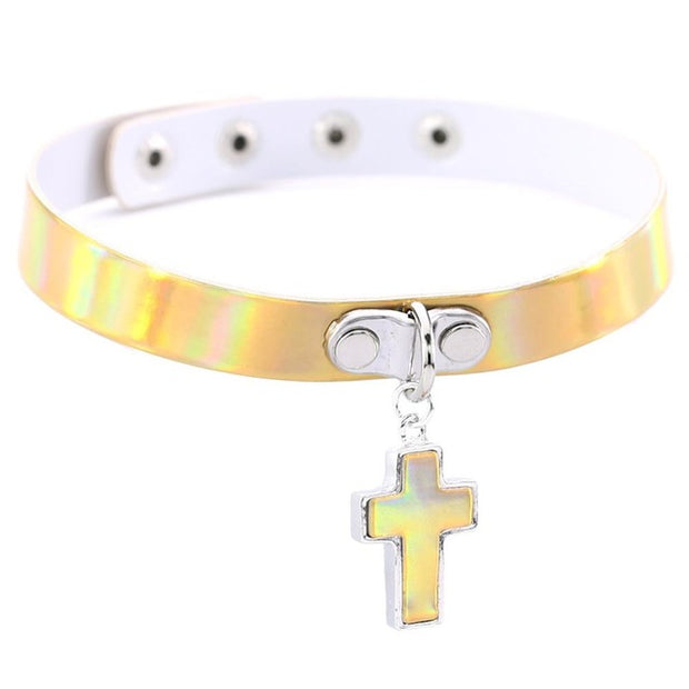 Holo Cross Pendant Collar (4 Colors Available)