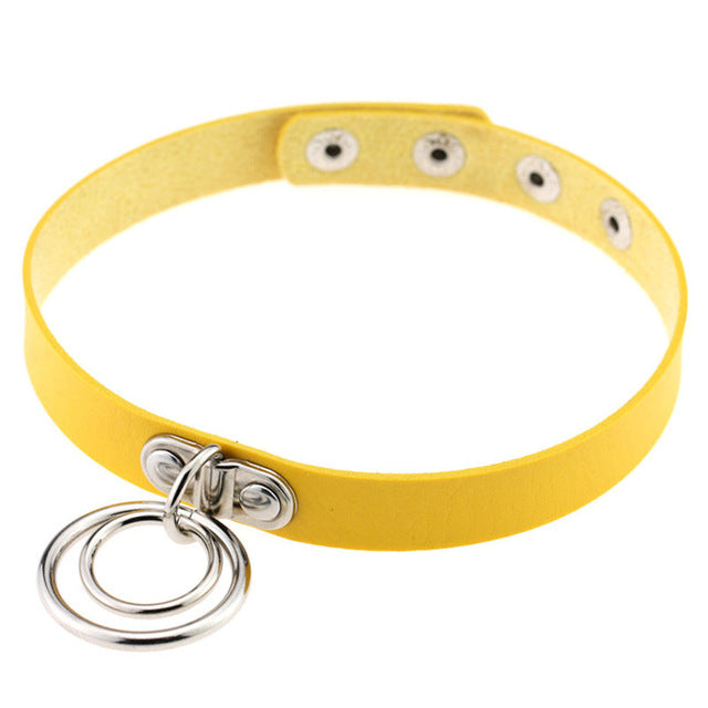 Double Ring Leather Collar (13 Colors Available)