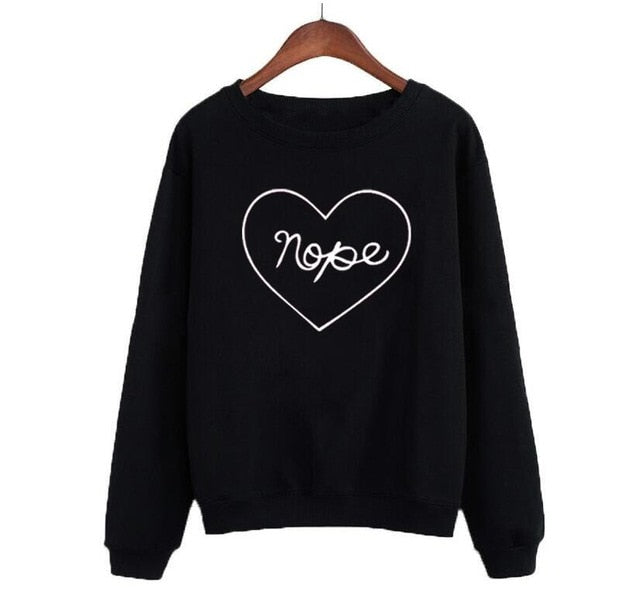 """Nope"" Heart Pullover (2 Colors Available)"