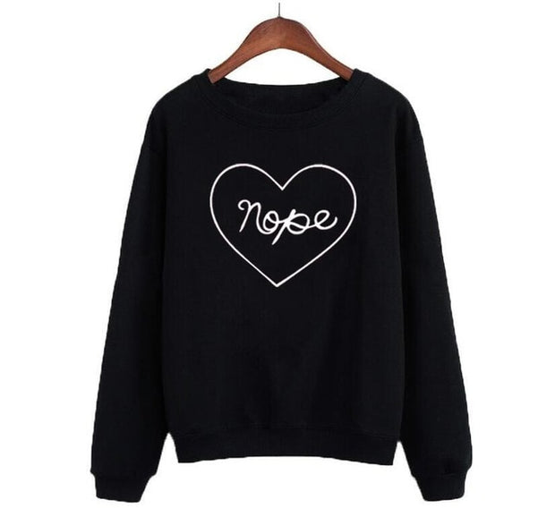 """Nope"" Heart Sweatshirt (2 Colors Available)"