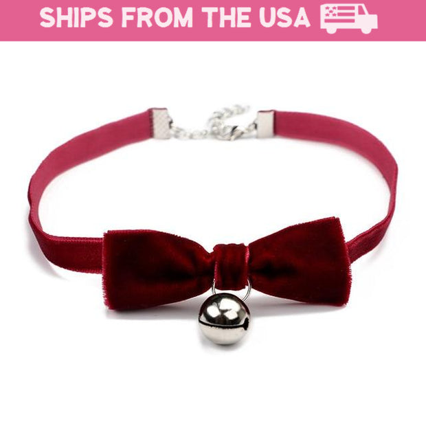 Cute Velvet Jingle Bell Kitten Collar (4 Styles Available)