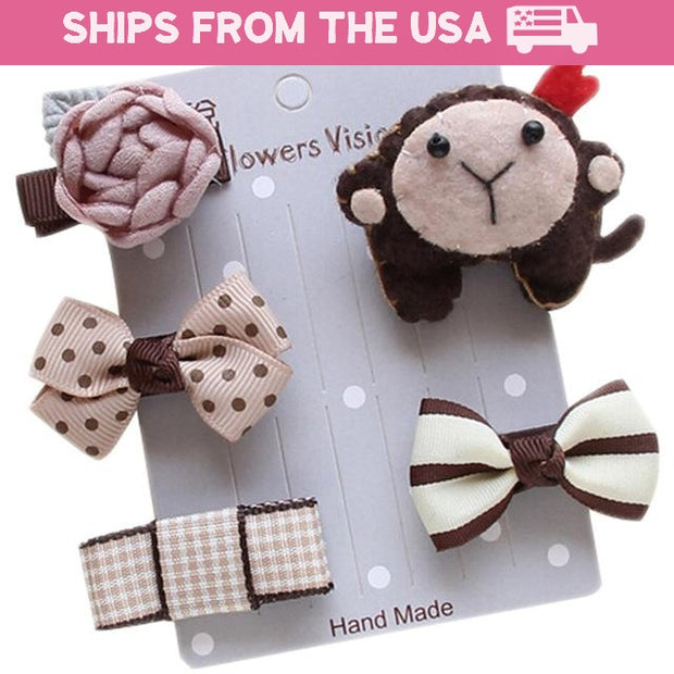 Cute Monkey 5-Piece Hair Accessory Set