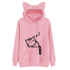 Sleepy Kitten Hoodie (4 Colors Available)