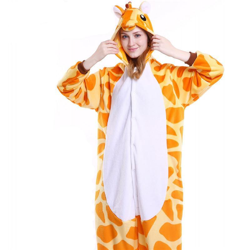 Cozy Giraffe Fleece Hooded Pajamas