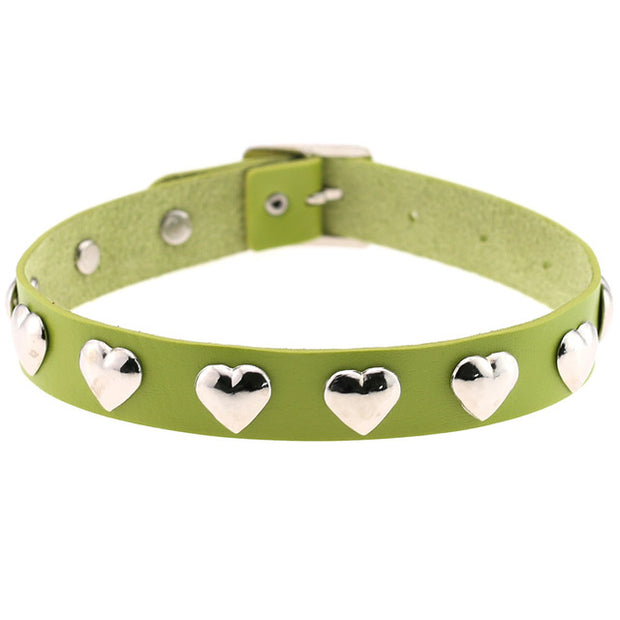 Cute Heart Rivet Collar (13 Colors Available)