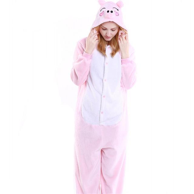 Cozy Piggy Fleece Hooded Pajamas
