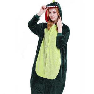 Cozy Green Dino Fleece Hooded Pajamas