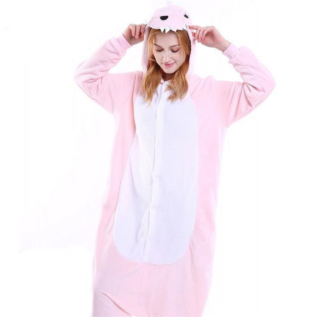Cozy Pink Dino Fleece Hooded Pajamas