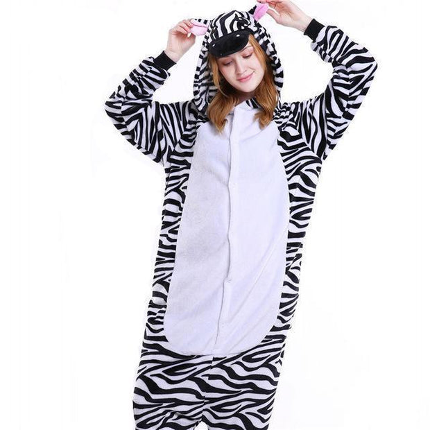 Cozy Zebra Fleece Hooded Pajamas
