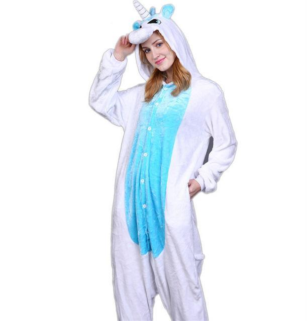 Cozy Blue Unicorn Fleece Hooded Pajamas