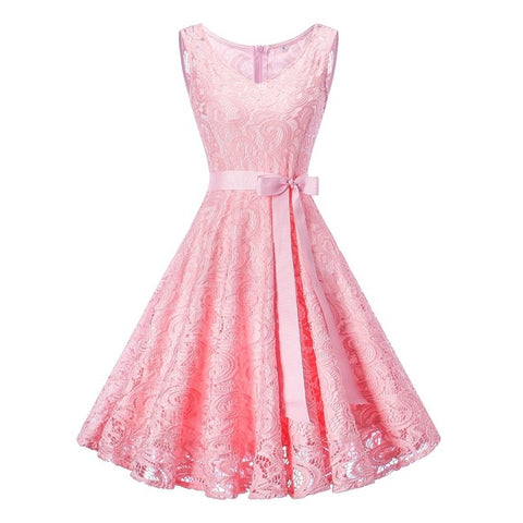 Sleeveless Floral Lace Party Dress (7 Colors Available)