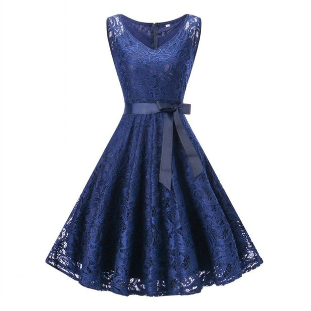 Sleeveless Floral Lace Party Dress (6 Colors Available)