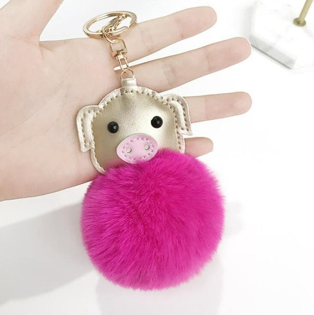 Piggy Pompom Keychain (8 Colors Available)