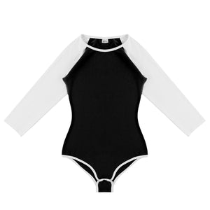 Black Basic Baseball Sleeve Onesie