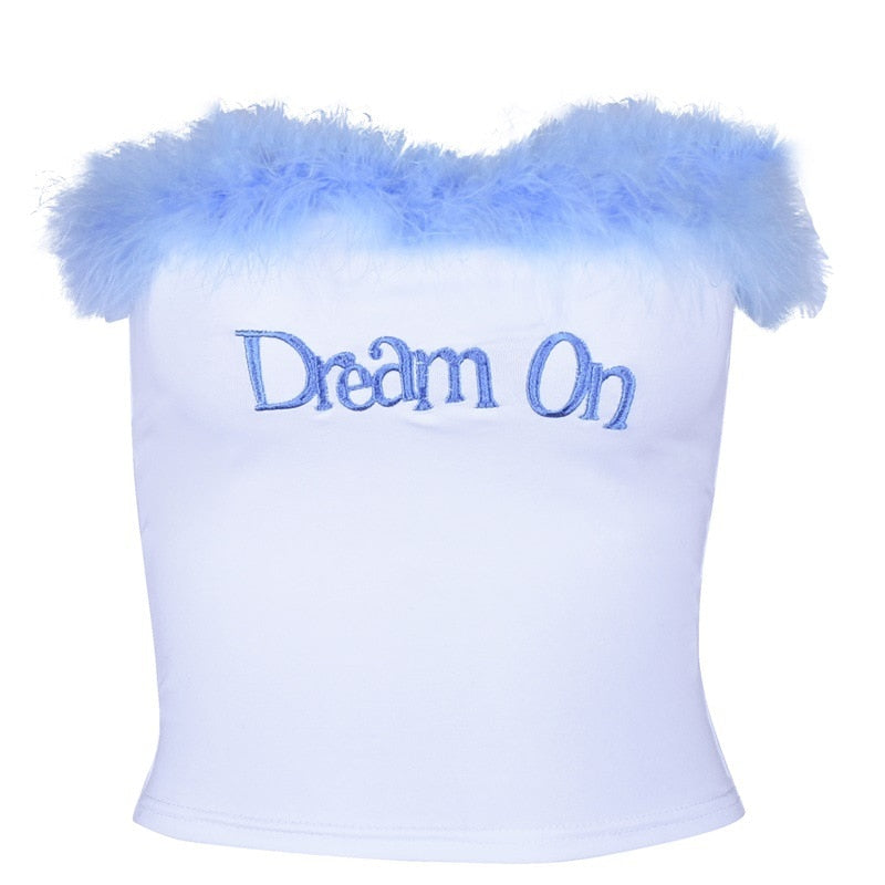 """Dream On"" Faux Fur Tube Crop Top"