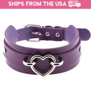 Silver Heart Buckle Collar (14 Colors Available)