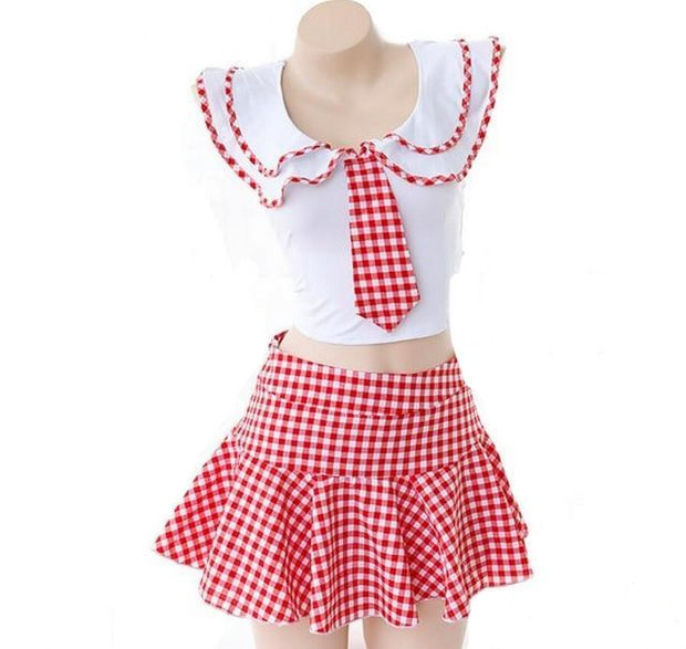 Cute Checkered School Girl Lingerie Set