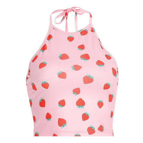 Strawberry Halter Crop Top