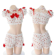 Ruffled Polka Dot Lingerie Set