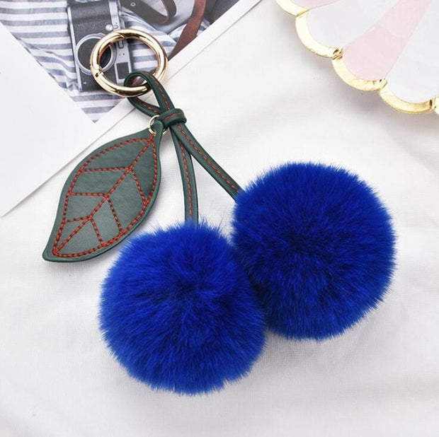 Cherry Pompom Keychain (18 Colors Available)