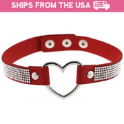 Rhinestone Faux Leather Collar (5 Colors Available)