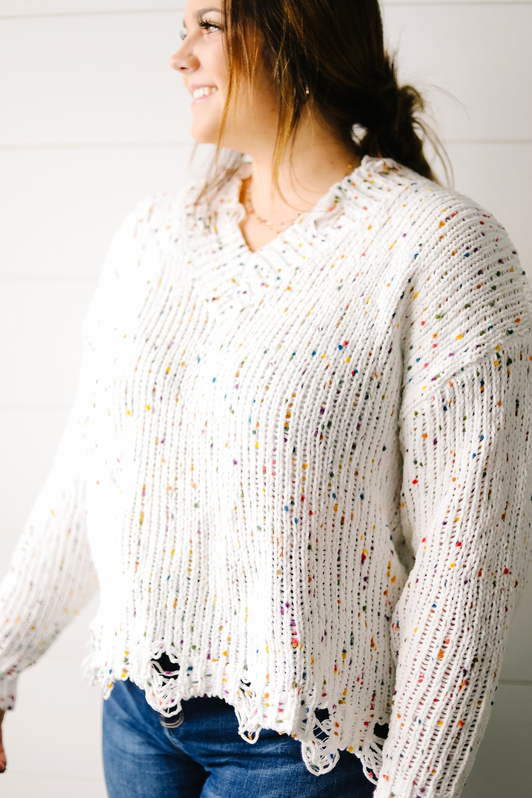 Don't Be A-Frayed Confetti Sweater