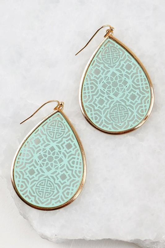 Mint Moroccan Cut Earrings