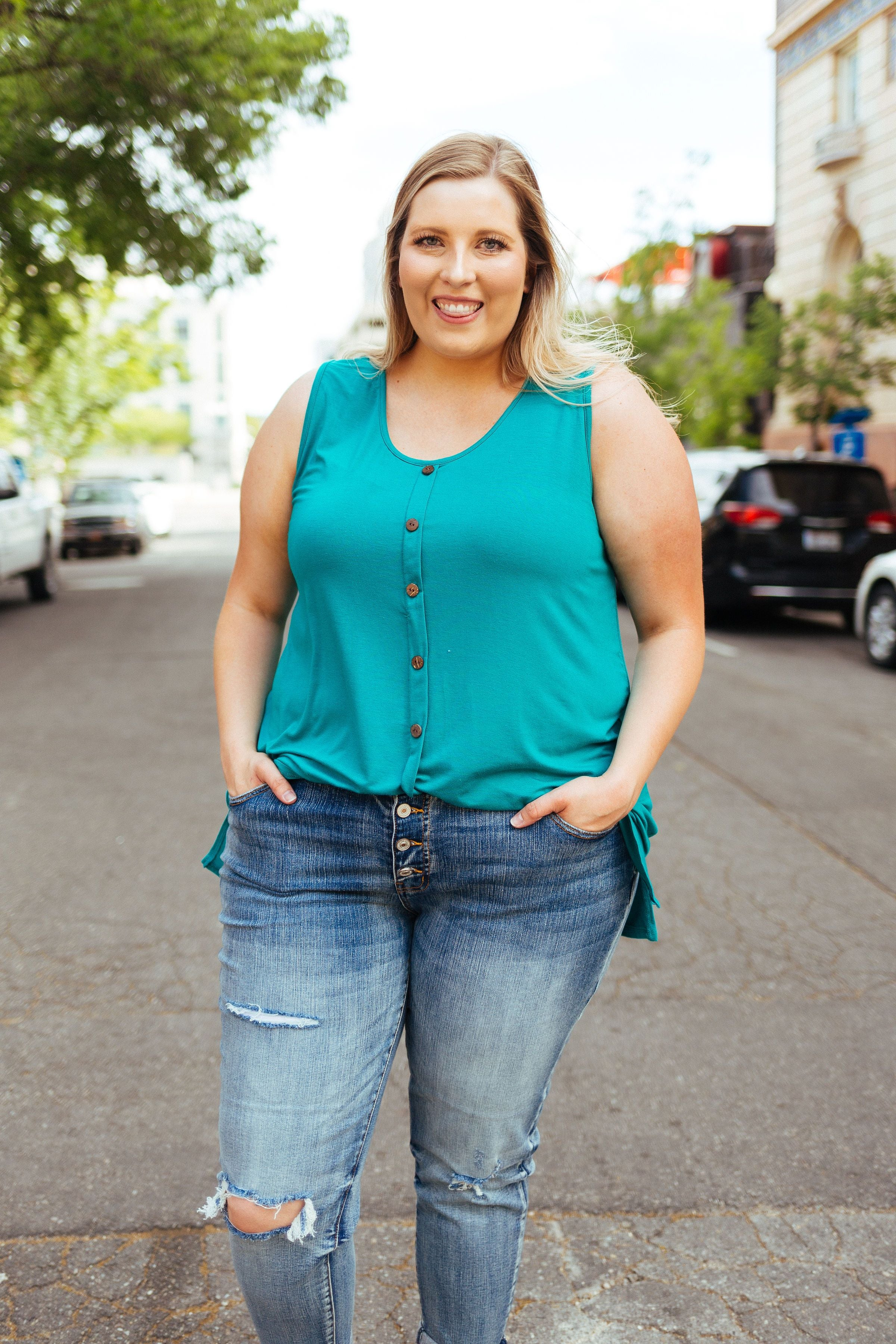 Beat The Heat Button-Down Tank In Teal