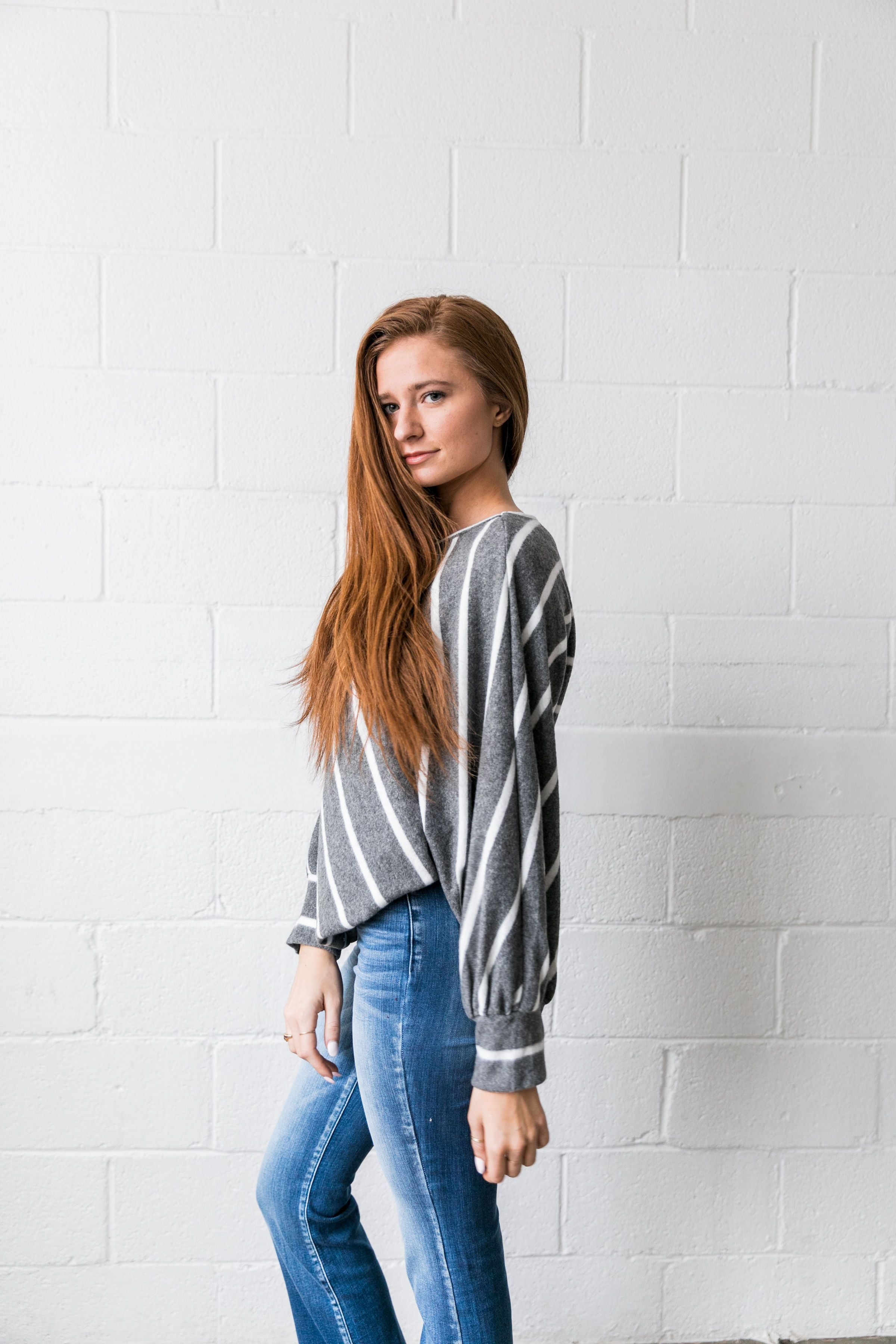 Aim Higher Chevron Striped Top In Charcoal - ALL SALES FINAL