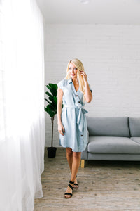 Amber Button Front Denim Dress