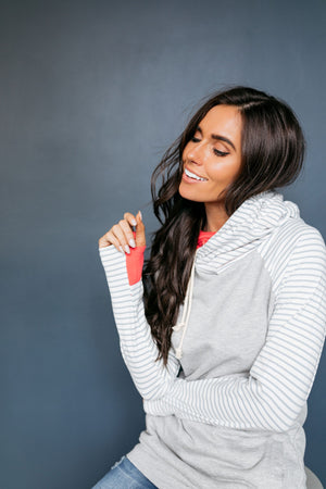 Angling For Awesome Hoodie In Gray + Coral