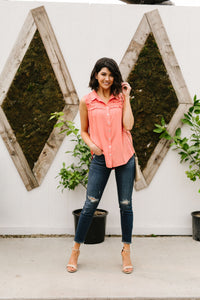 Apricot Double Ruffle Sleeveless Top