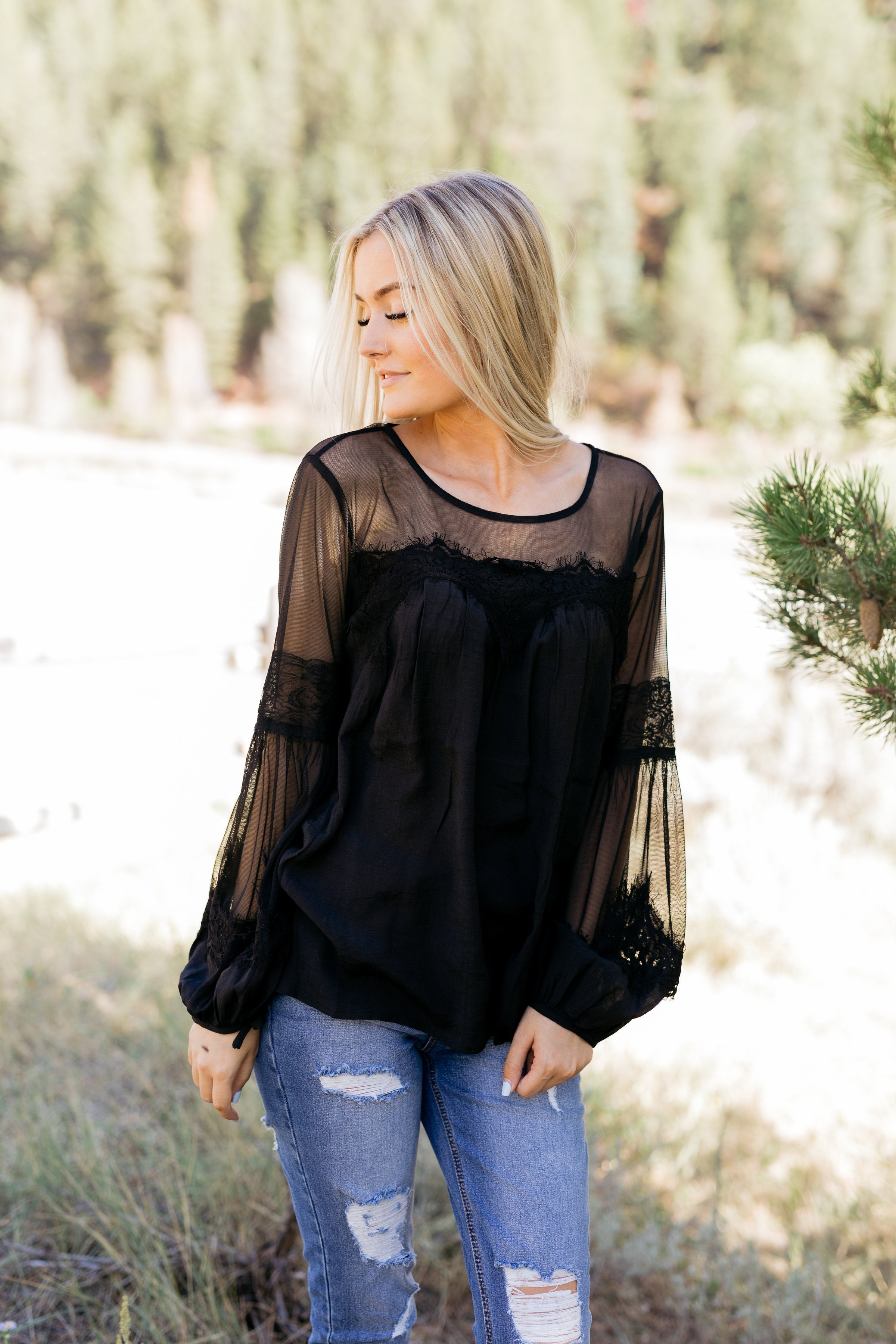 Autumn Affairs Of The Heart Top In Black