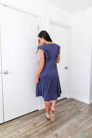 Babydoll Blue Ruffle Sleeve Dress