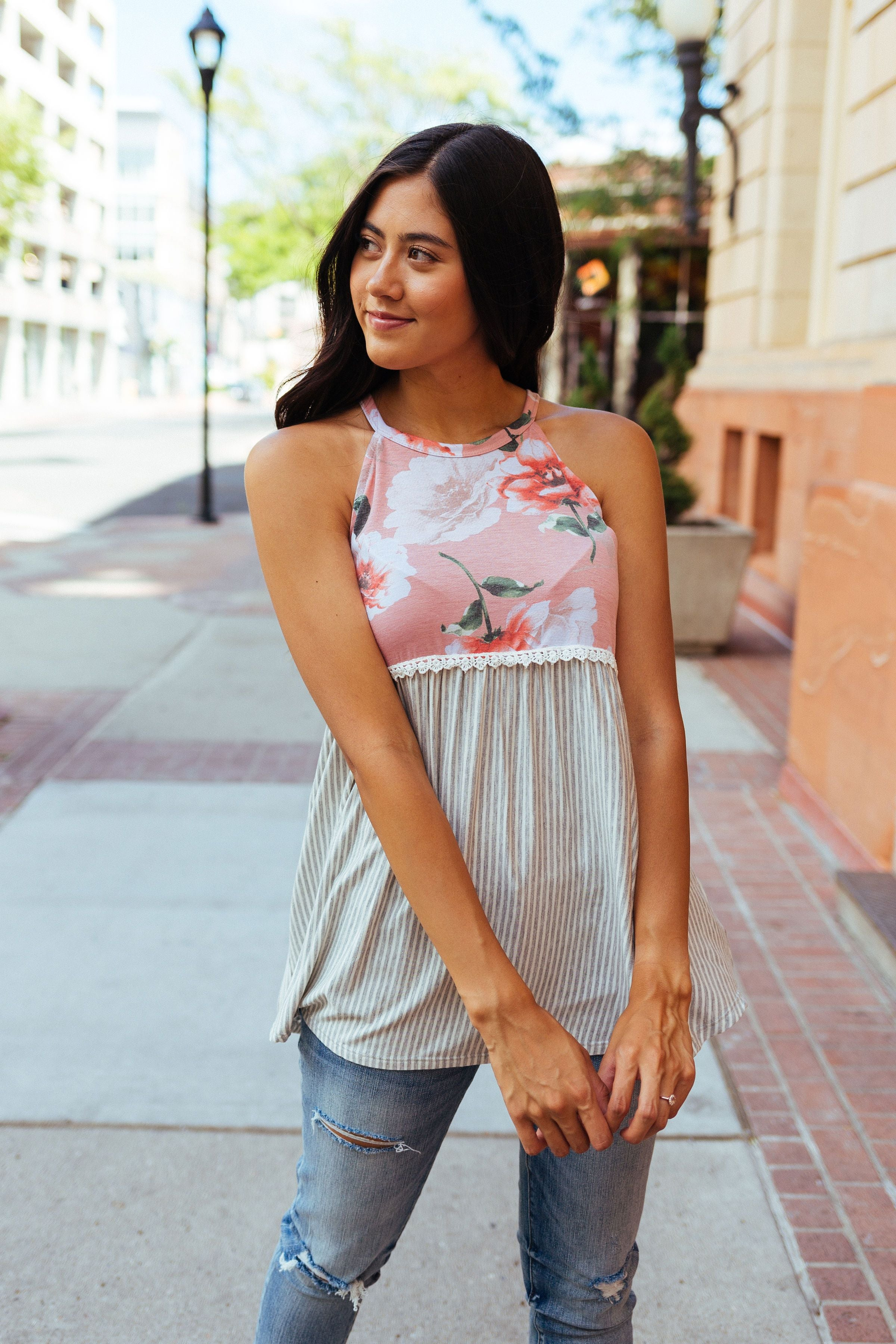 Babydoll Floral and Stripe Halter In Blush