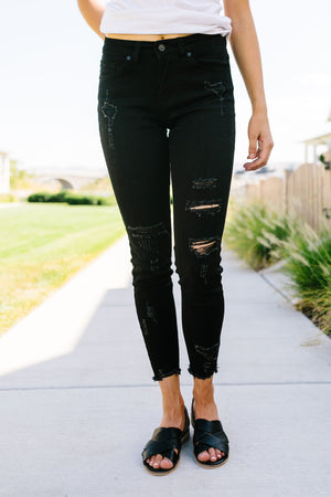 Back To Black Ripped Knee Skinny Jeans
