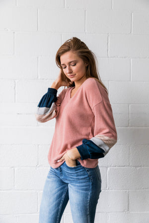 Bethany Ribbed V-Neck Sweatshirt