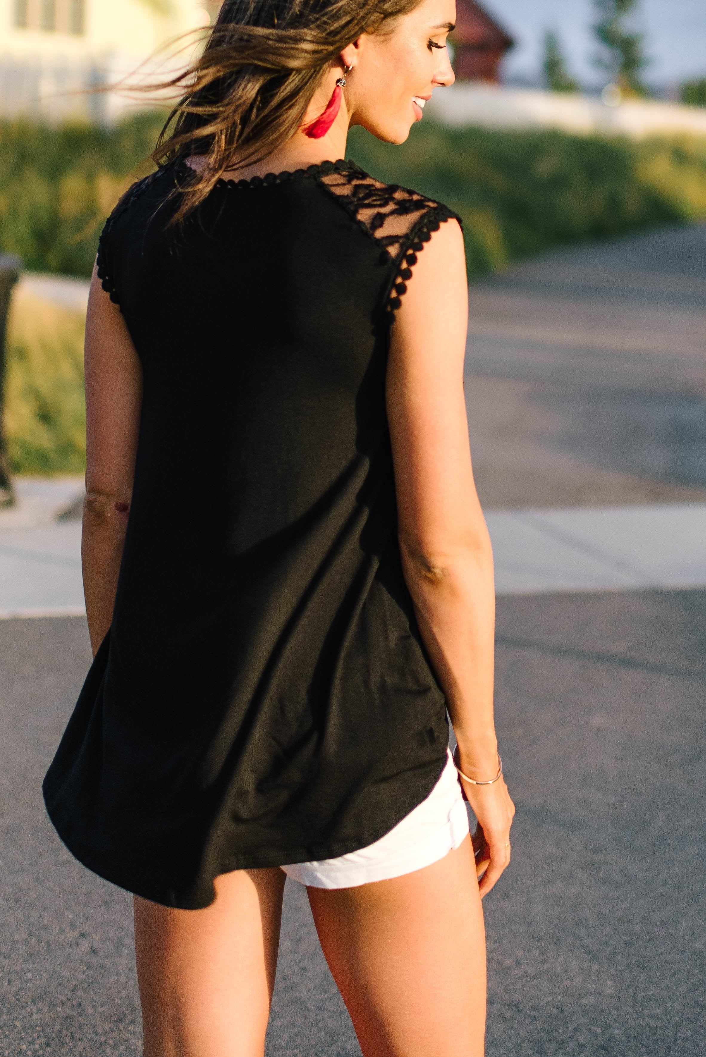 Black Sleeveless Lace Trimmed Tunic