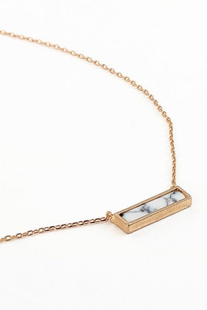 Brass + Stone Bar Necklace - ALL SALES FINAL