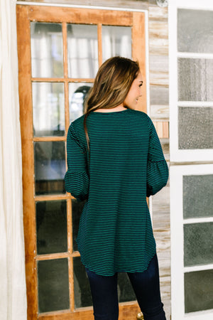 Bubble Sleeve Striped Top In Navy + Green - ALL SALES FINAL