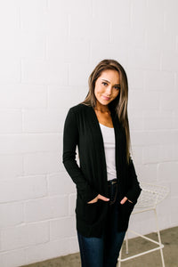 Carefree Casual Cardigan In Black - ALL SALES FINAL