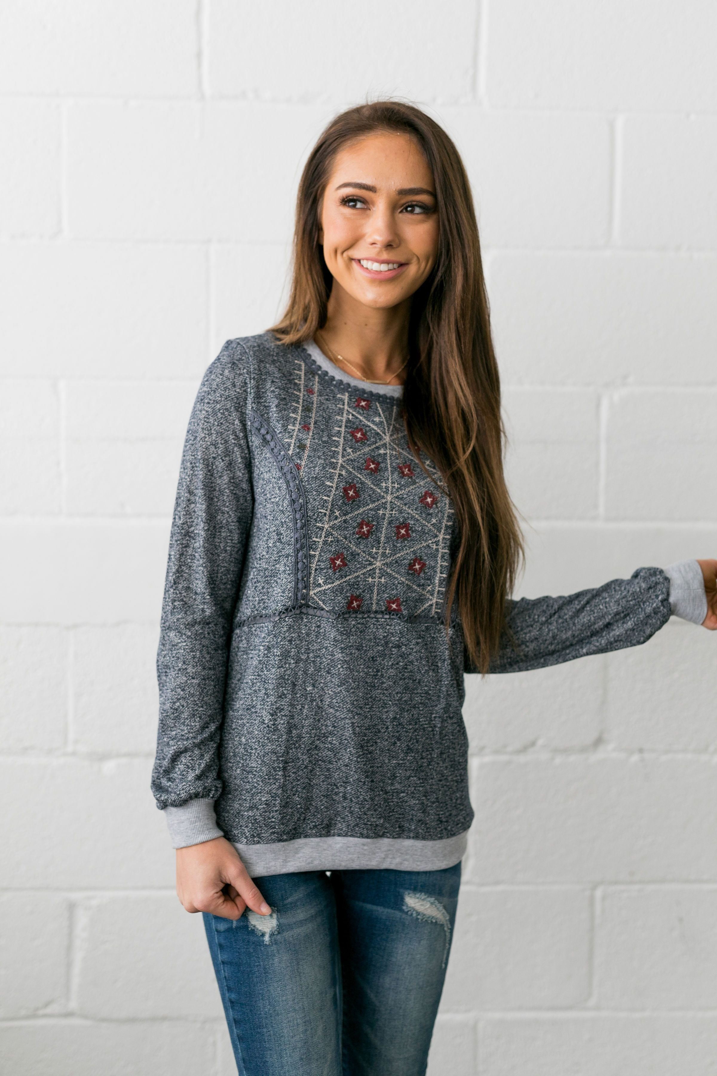Casual Elegance Embroidered Top In Navy - ALL SALES FINAL