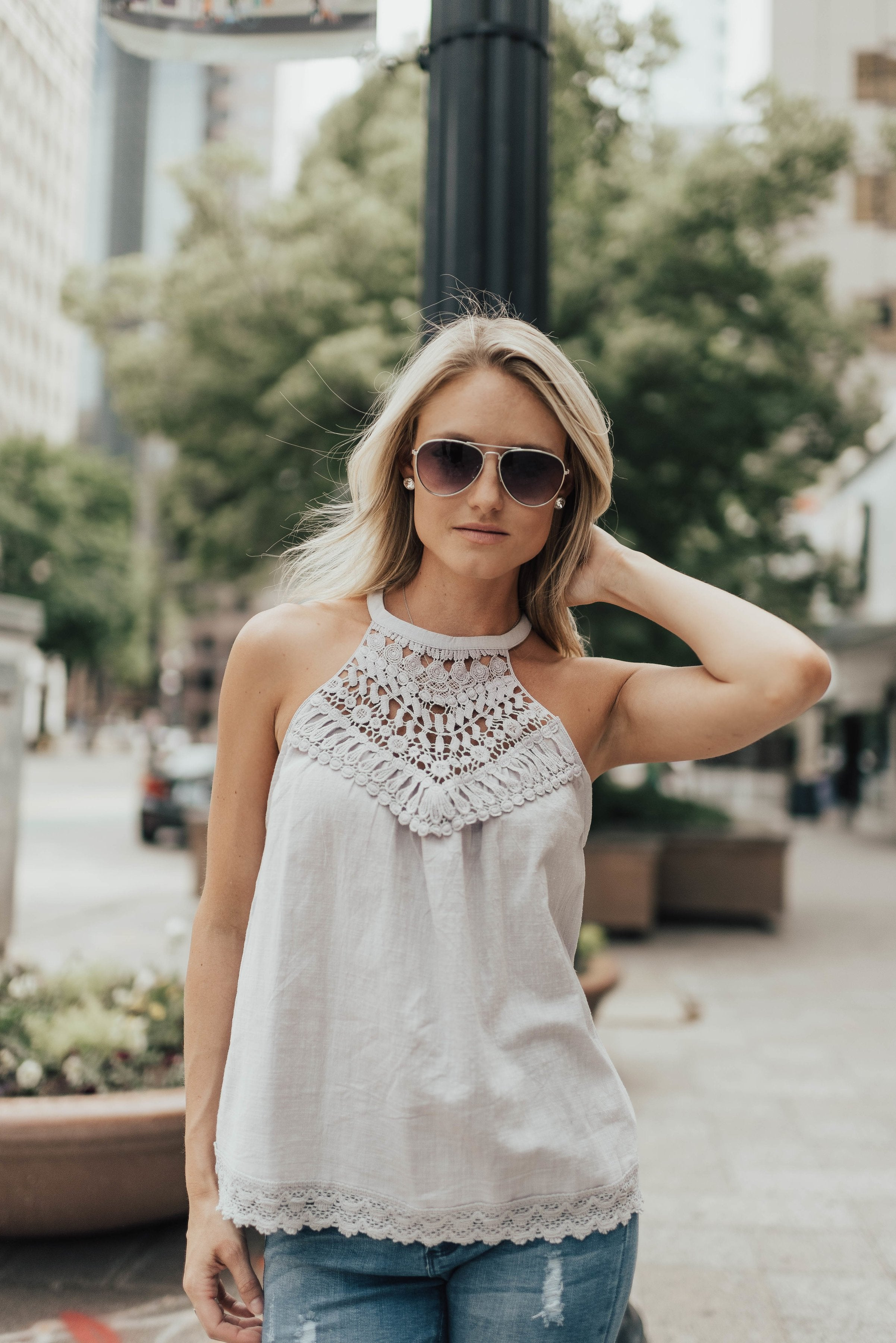 Chrissy Crochet Halter In Gray