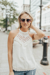 Chrissy Crochet Halter In Pale Yellow