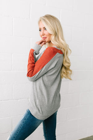 Clever Color Block Waffle Knit Top