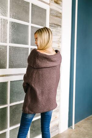 Colossal Cowl Neck Sweater In Midnight Purple