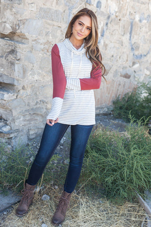 Comfort Zone Cowl Neck Top In Brick