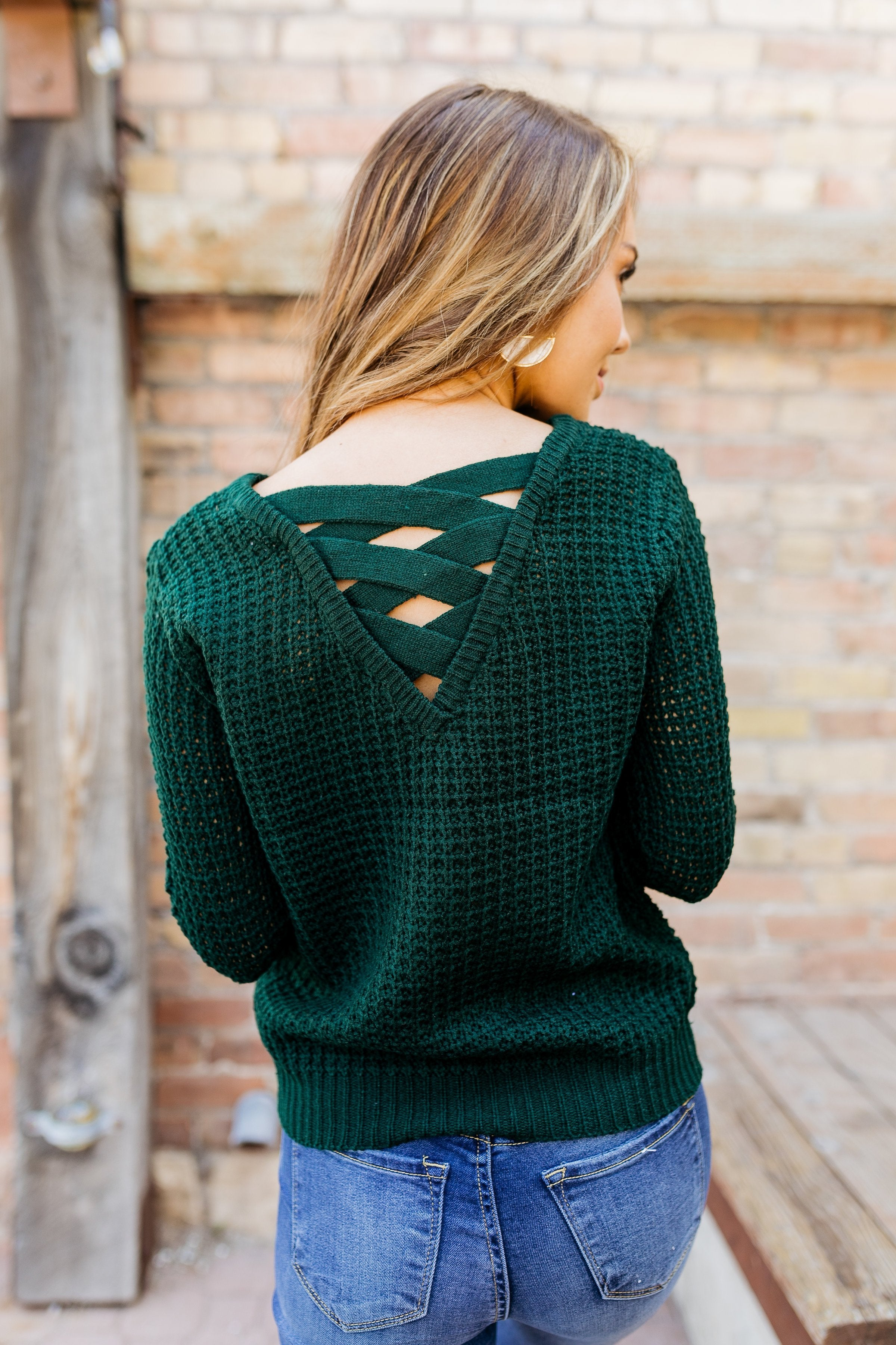 Criss Cross Applesauce Hunter Green Sweater