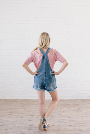 Distressed Denim Overall Shorts Dark Wash